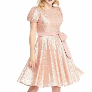 Gal Meets Glam Beatrix Sequin Fit & Flare Dress